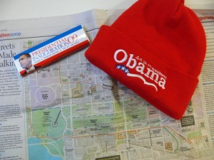 Everything you need to enjoy the Inauguration.. a hat, a visitor's map, and a chocolate bar
