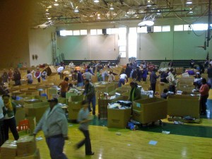 Sorting books was a big group effort