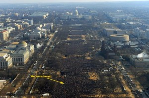 Crowds filled the entire Mall, with estimates of close to 2 million. We were about a mile from the actual proceedings. (Click photo for larger view - Jewel Samad-AFP/Getty Images)