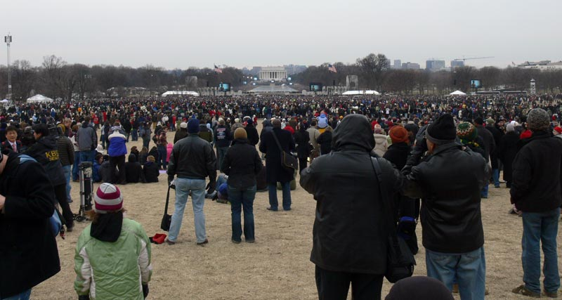 The crowd, as viewed from the foot of the Washington Monument