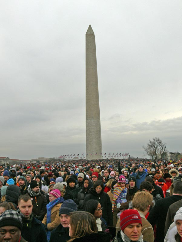 View from behind us, looking back towards the Washington Monument