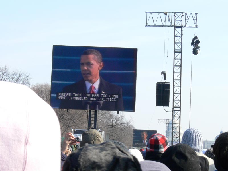 Obama's Inaugural speech: On this day, we come to proclaim an end to the petty grievances and false promises, the recriminations and worn out dogmas, that for far too long have strangled our politics.