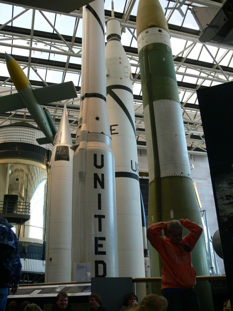 Full-scale reproduction of the Jupiter-C launch vehicle with models of the Explorer I and other satellites