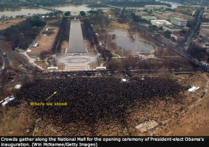 We Are One crowd from above. The arrow points to where we were standing.