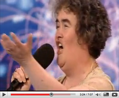 Susan Boyle singing on Britain's Got Talent