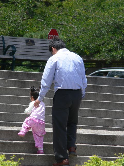 Girl and dad.