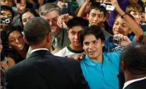 President Obama greets high school students (AP photo)