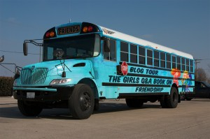 Girls' Q&A Book Blog Tour Bus. Fueled by good will and good friendship strategies. Zero carbon emissions.